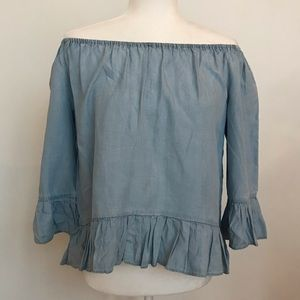 Sanctuary chambray ruffled off the shoulder too